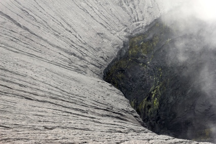 Looking into the steaming vent of Mt Bromo