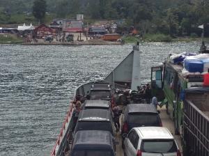 On board the ferry heading towards Samosir