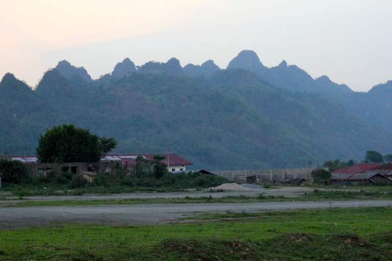 the airstrip runs the length of the village