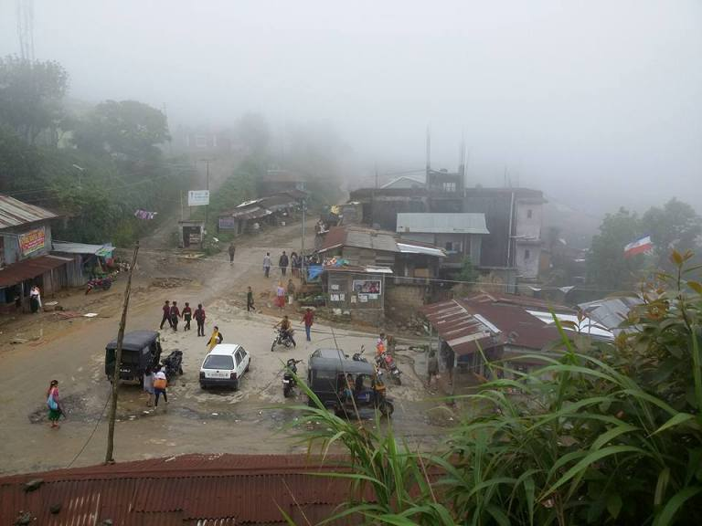 Immersed in clouds. Tamenglong township, the view from Circuit House - our guest house.