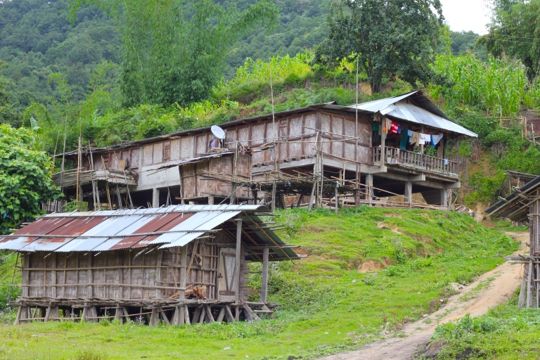 Nyishi village. People live in long houses of extended families.