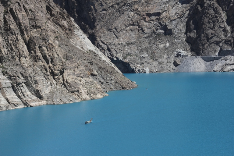 Attabad Lake - created by a landslide in 2010. Vehicles have to be transported across by boat.